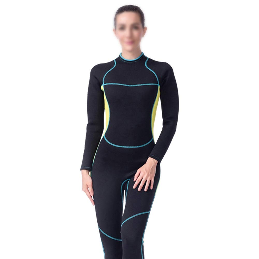 Black yellow KERVINJESSIE 3mm Siamese Women's Long Diving Suit, Cold and Warm Elastic Slim Diving Suit