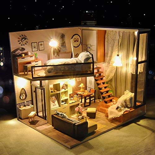 LtrottedJ 3D Wooden DIY Miniature House Furniture LED House Puzzle Decorate Creative Gifts -