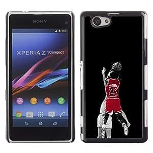 23 Bulls Basketball - Metal de aluminio y de plástico duro Caja del teléfono - Negro - Sony Xperia Z1 Compact / Z1 Mini (Not Z1)