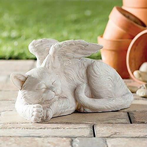 bestheart Sleeping Angel Cat Garden Statuette Outdoor Decoration, Spring Outdoor Garden Art, Terrace, Lawn, Courtyard Art Decoration, Housewarming Garden Gift