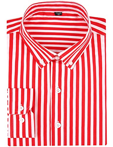- DOKKIA Men's Casual Long Sleeve Vertical Striped Slim Fit Dress Shirts (Red White, Medium)