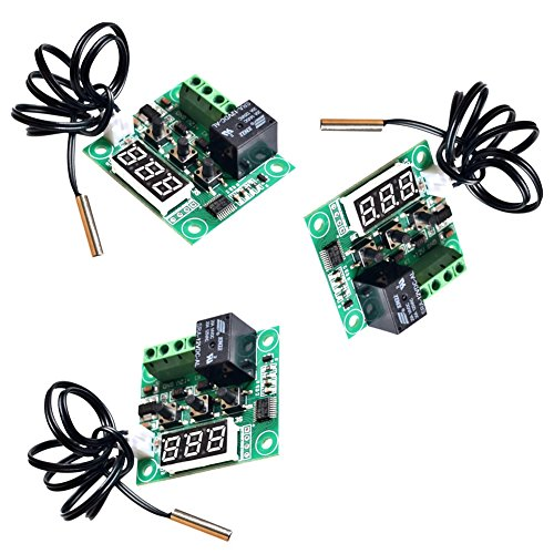 CHENBO(TM) 3 Pack 12V DC Digital Cooling/Heating Thermostat Temp Control -50-110 °c Temperature Controller 10A Relay With Waterproof Sensor Probe