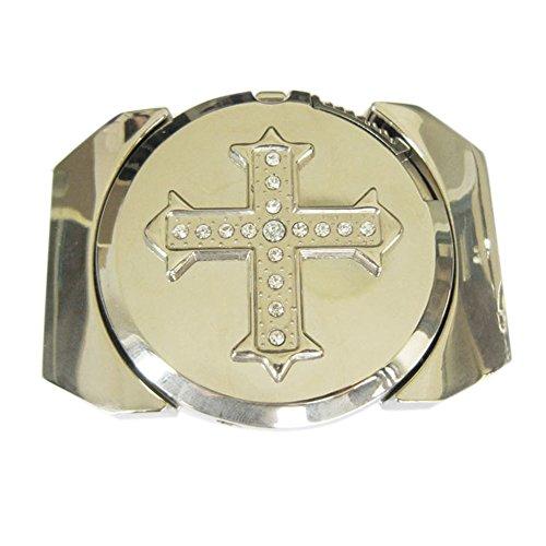 (New Bright Silver Rhinestone Cross Lighter Belt Buckle Gurtelschnalle)