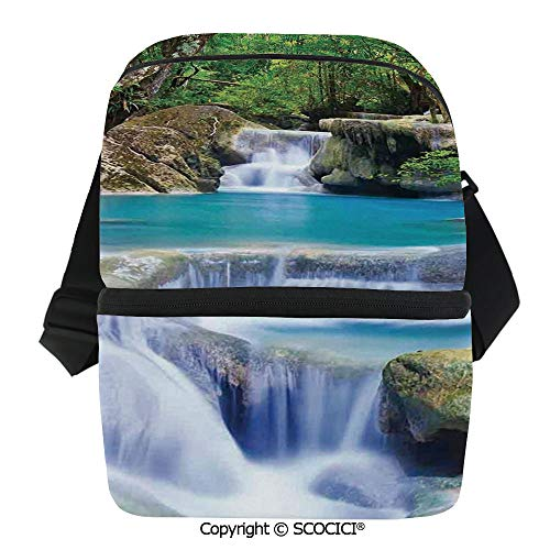 SCOCICI Insulated Lunch Cooler Bag Fairy Image of Asian Waterfall by The Rocks in Forest Secret Paradise Decorative Reusable Lunch for Men Women Heat Insulation,Heat Protection