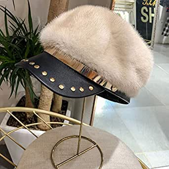 Ladies Winter New Whole Suede Mink Fur Duck Fur Hat Rivet Leather Hat Soft Hat Beige