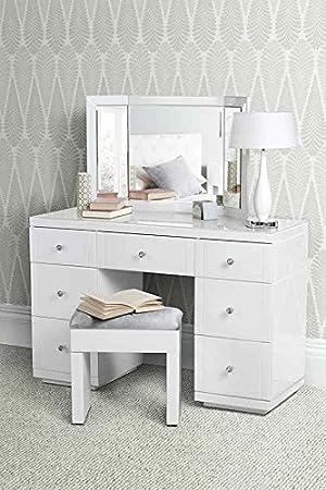 My Furniture Grande Coiffeuse Bureau En Verre Blanc