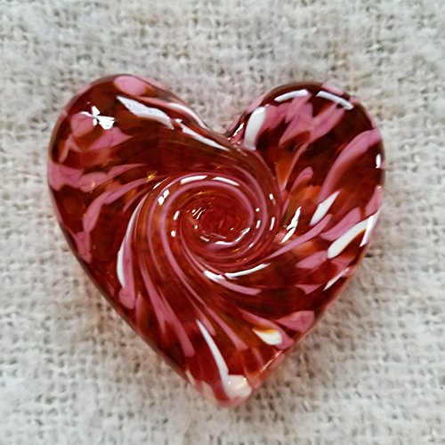 Glass Heart - Mixed Pink (Glass Swirled Blown)