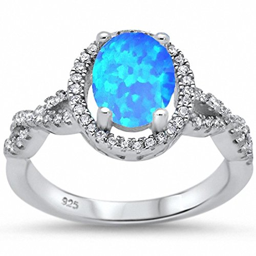 Halo Oval Infinity Shank Engagement Ring Round Created Blue Opal 925 Sterling SilverSize-9 ()