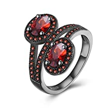 Women Red Cubic Zircon Teardrop Wedding Band Engagement Ring Black Stainless Steel 18K Gold Plated Party Bridal Jewelry