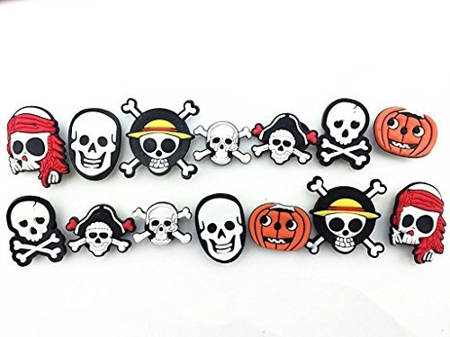 14pc Halloween Pirates Skull Shoe Charms for Croc Shoes Kids Toy & Bracelet Wristband -