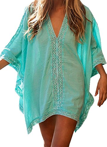 CHERRY CAT Womens Oversized Bathing Suit Swimsuit Cover Ups Swimwear Bikini Beachwear Beach Dresses Kaftan Tunic (Green)