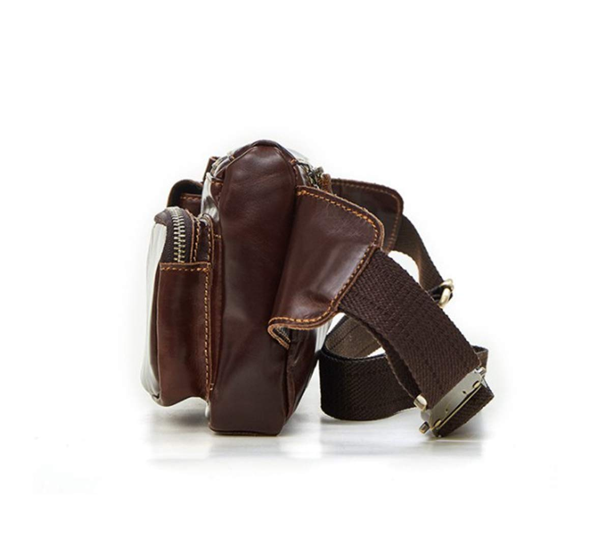 Adams chad Large Brown Genuine Lambskin Leather Fanny Pack Waist Bag with Cell Phone Pouch Color : Coffee Color