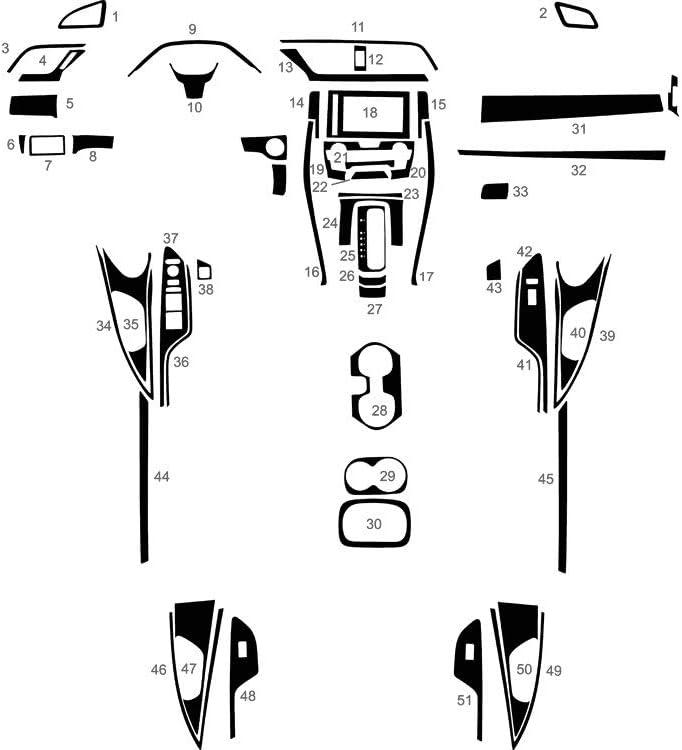 Rvinyl Rdash Dash Kit Decal Trim for Honda Civic 2016-2020 - Aluminum Brushed Black Sedan