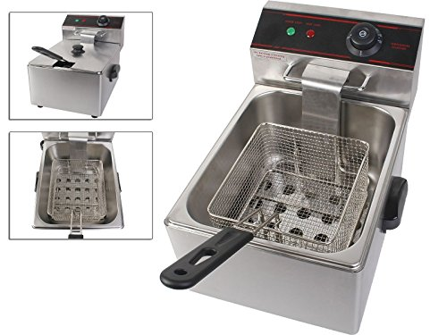 Electric 2500W Tabletop Deep Fryer Single Tank With Stainless Steel Fryer Basket And Multiple Safety Features TSE065A