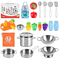 BGdoyz Kitchen Pretend Play Toys with Stainless Steel Cookware Pots and Pans Set, Cooking Utensils, Apron & Sleeve, Cutting Vegetables for Kids and Toddler Gifts Educational Learning Tool