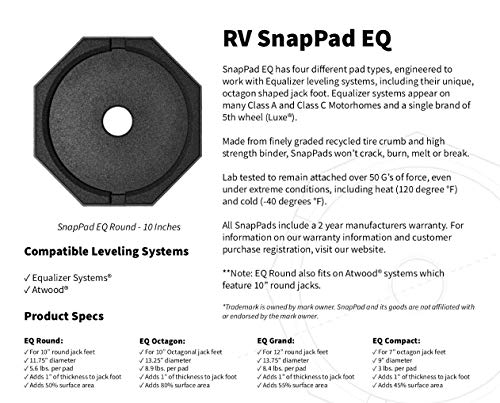 SnapPad EQ Permanently Attached RV Leveling Jack Pad for Equalizer Landing Feet (Round Single)