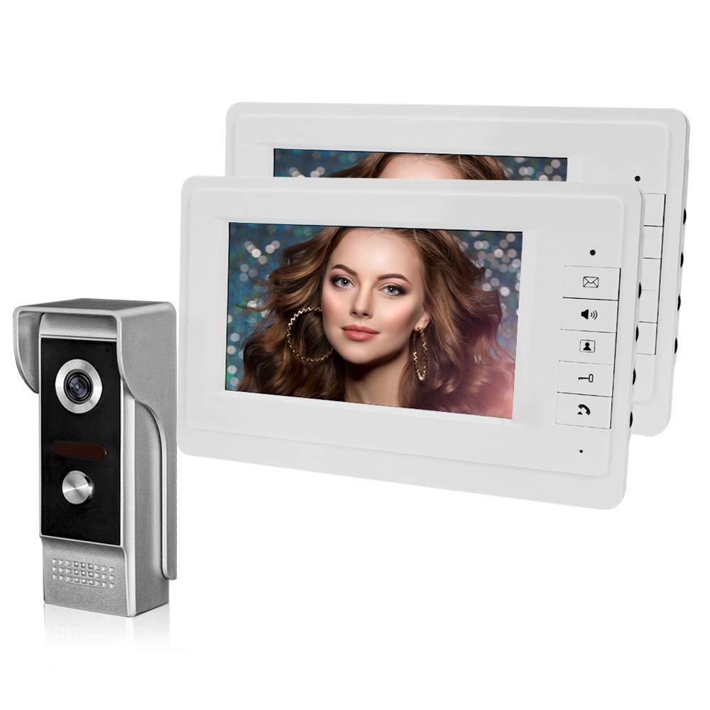 HFeng Videoportero, Sistema de timbre de video para el hogar, Monitores de unidad TFT de 7 '' + Sistema de puerta de cá mara de metal 700TVL (1 Cá mara + 2 Monitores)