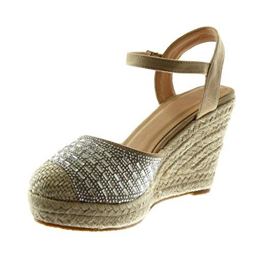 Mode Angkorly Diamant Lanière Compensé Strass 10 Plateforme Plateforme Beige cm Talon Cheville Tréssé Corde Femme Mule Chaussure Sandale UXznw5Sz