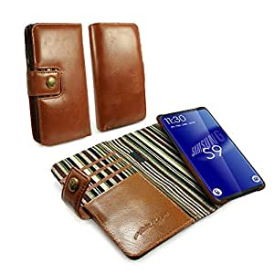 Tuff-Luv Genuine Leather Vintage Slim Wallet Case with Magnetic Shell for Samsung Galaxy S9 (No Bill-fold section) - Brown