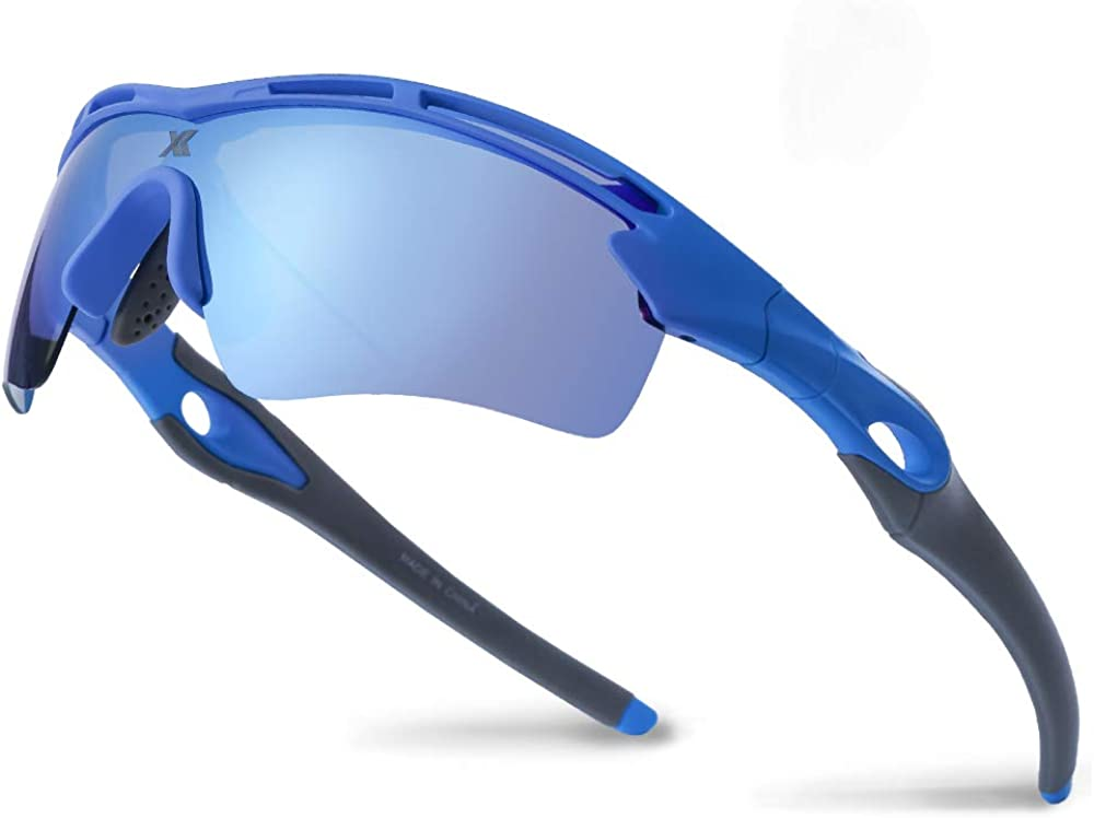 XR Polarized Sport Sunglass 100% UV Protect for Run Bike Fish TR90 Unbreakable Frame for Adult