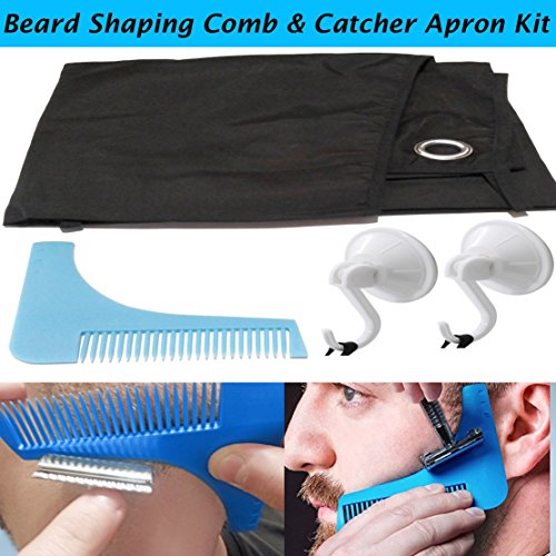 BROHANSKI BEARD Comb Shaping Tool Cape Apron Complete Kit Facial Care Hair Grooming Locking Suction Cups Mirror - Pro Results Razor Sharp Lines Symmetry Goatee Beard - Perfect Every (Beard With Goatee)