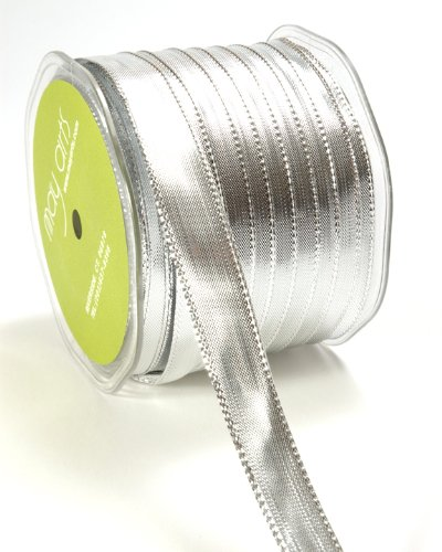 May Arts 1/2-Inch Wide Ribbon, Metallic (Silver Metallic Edge)