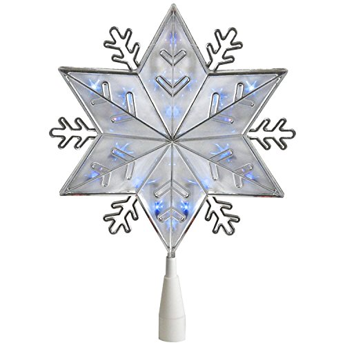 Northlight 10 Silver 6-Point Snowflake Christmas Tree Topper - Blue Lights