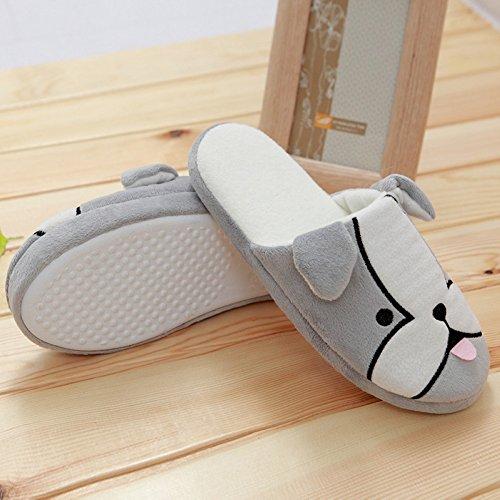 CHUANGLI Warmer Plush Cute Dog Home Floor Soft Slipper Non-slip Closed Toe Indoor Slipper Grey fQ5U6J2