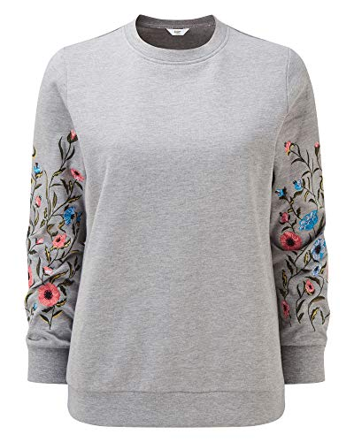 Cotton Traders Womens Ladies Casual Design Embroidered Sleeve Sweatshirt Colour Grey Marl Size Large