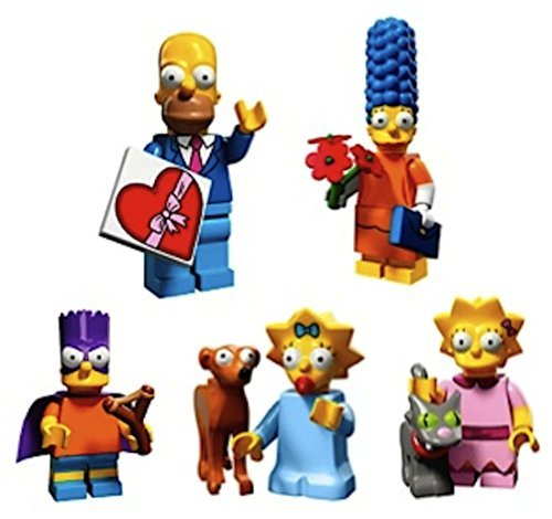 Simpson Family-Valentine's Day Homer, Date Night Marge, Bart As Bartman, Lisa & Snowball II, Maggie & Santa's Little Helper: Lego Simpsons Collectible Minifigures Series 2 Custom Bundle 71009