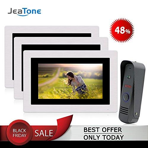 "JeaTone 7"" Ring Video Doorbell Intercom Door Phone 3 Monitors Night Vision Camera 1V2 Wide Angle IP65 Picture/Video Recording Support Monitoring, Unlock, Dual way Door Talking -  84709-TM-84202-CP80-3"