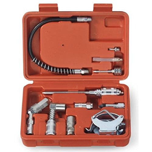 Grease Gun Lubrication Aid Kit   Zerk Fittings Lube Attachments Needle Flex Hose Includes Storage Case (Flex Joint Pipes)