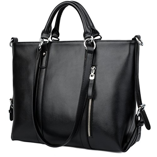 Yaluxe 100 Full Leather Womens 3 Way Laptop Office Work Tote Handbag Shoulder Bags Black on marshalls shopping cart