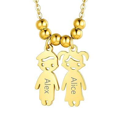 Custom4U Niño y Niña Personalizado Collar Plata de Ley 925 / Acero Inoxidable Chapado en Platino y Oro 18K para Mujeres con Nombres Grabados Joyería ...