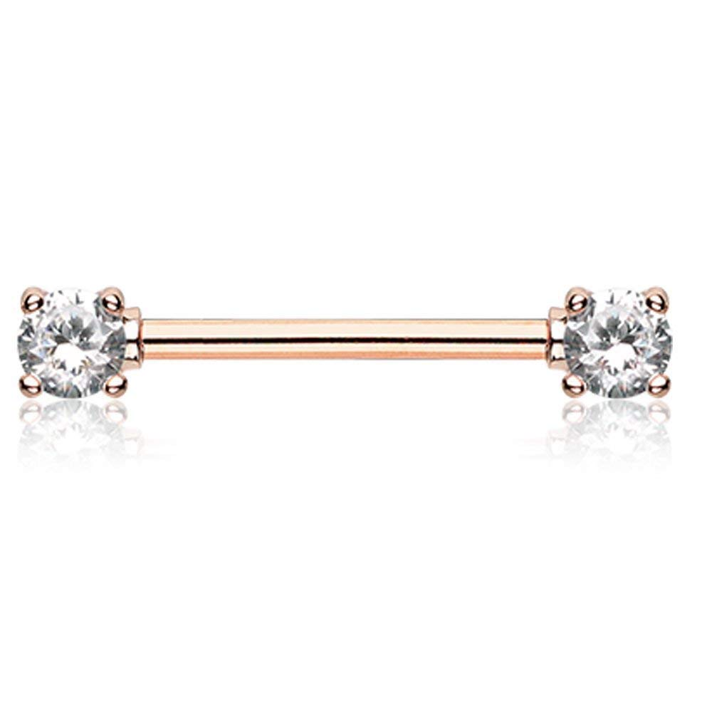 Covet Jewelry Rose Gold Double Prong Cubic Zirconia Gem Nipple Barbell Ring