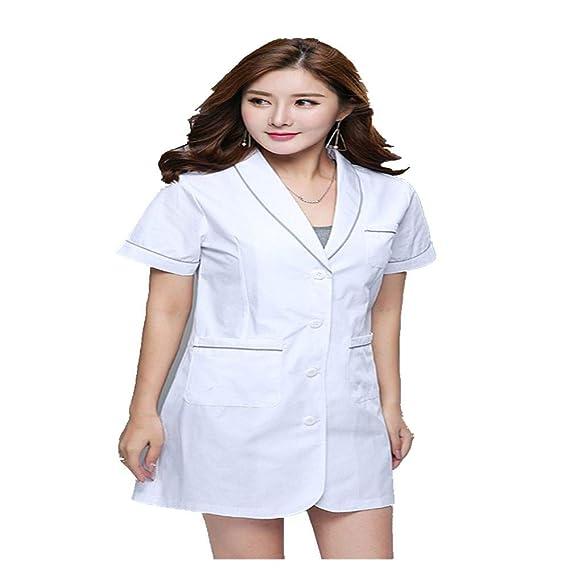 a3e3835d38e QZTG Medical coat Doctor Uniform Medical Scrub Clothes Women Pharmacy Long  Coat Surgery Lady Medical Uniform Beauty Salon.: Amazon.co.uk: Clothing