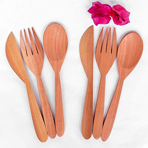 Bali Harvest Set of 6 Handmade Wooden Cutlery (2 Spoons, 2 Forks, 2 Knives) | Mahogany Wood | Eco Friendly | Eating Spoons and Forks | Cereal Smoothie Spoons | Camping Spoons | Natural Finishing