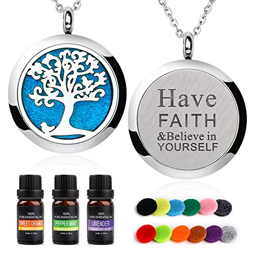 RoyAroma Essential Oil Necklace Gift Set, Aromatherapy Essential Oil Diffuser Necklace Locket Jewelry, 23.6