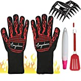 Grilling Gloves 932°F Extreme Heat Resistant Oven Gloves Long, Sonyabecca BBQ Gloves with Meat Claw,Oil Brush,Grill Spatula Kits For Cooking,Baking,Grilling