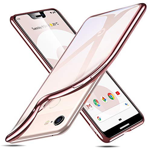 ESR Essential Twinkle Case Compatible for The Google Pixel 3 XL, Slim Clear Soft TPU Cover, Rose Gold Frame
