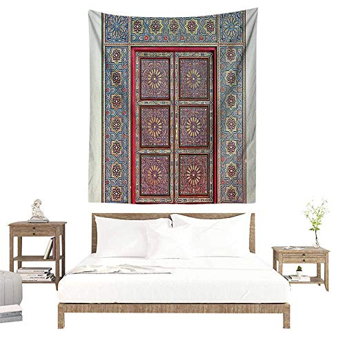 alisoso Cute Tapestry,Moroccan Decor Collection,A Magnificent Moroccan Traditional Ancient Door Gate Brass Historic Handicraft Image,Blue W63 x L63 inch Home Decorations Wall Tapestries
