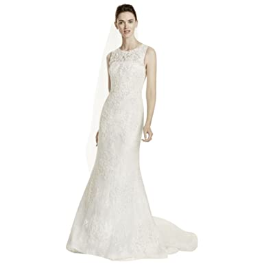 Davids Bridal Sample As Is Tank Wedding Dress With Illusion Back Style AI14020096