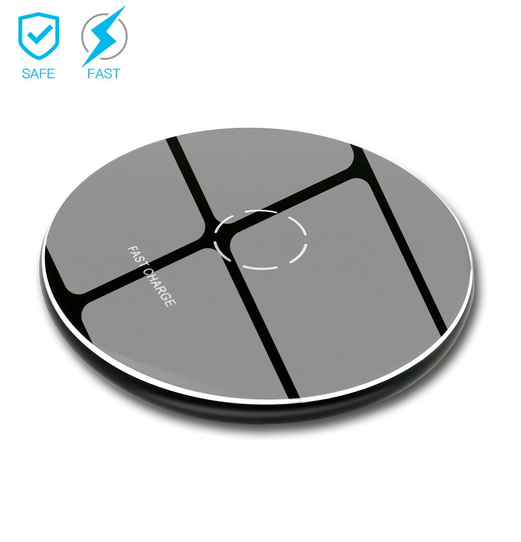 Wireless Charger, Melegend Compatible Android 10W Qi Fast Wireless Charging Pad for Samsung Galaxy S9 S9+ Note 8/5 S8/8+ S7/6 , 7.5W Compatible Cordless Charger for IPhone X 8/8 Plus (No AC Adaptor )