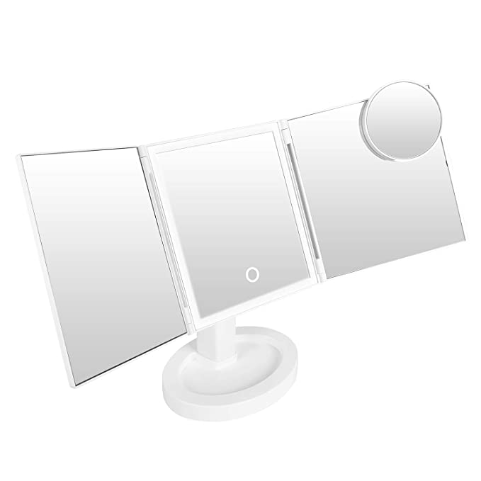 Upgrade LED Makeup Mirror with Extra Bright LED Lights, Dimming Height Adjustable Lighted Vanity Smart Touch Adjustable 360 Rotation 2 Power Supply, Tri-Fold Mirror with 10x Magnification Mirror