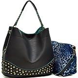 Dasein Faux Leather Studded 2-in-1 Hobo Shoulder Bag Handbag - Black