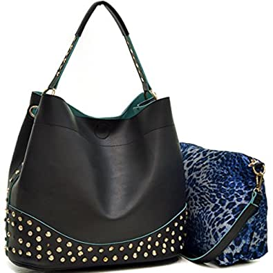 Amazon.com  Dasein Faux Leather Studded 2-in-1 Hobo Shoulder Bag ... 2f27a661b8d24