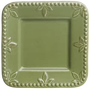 Signature Housewares Sorrento Collection 6-Inch Square Plates, Green Antiqued Finish, Set of 6