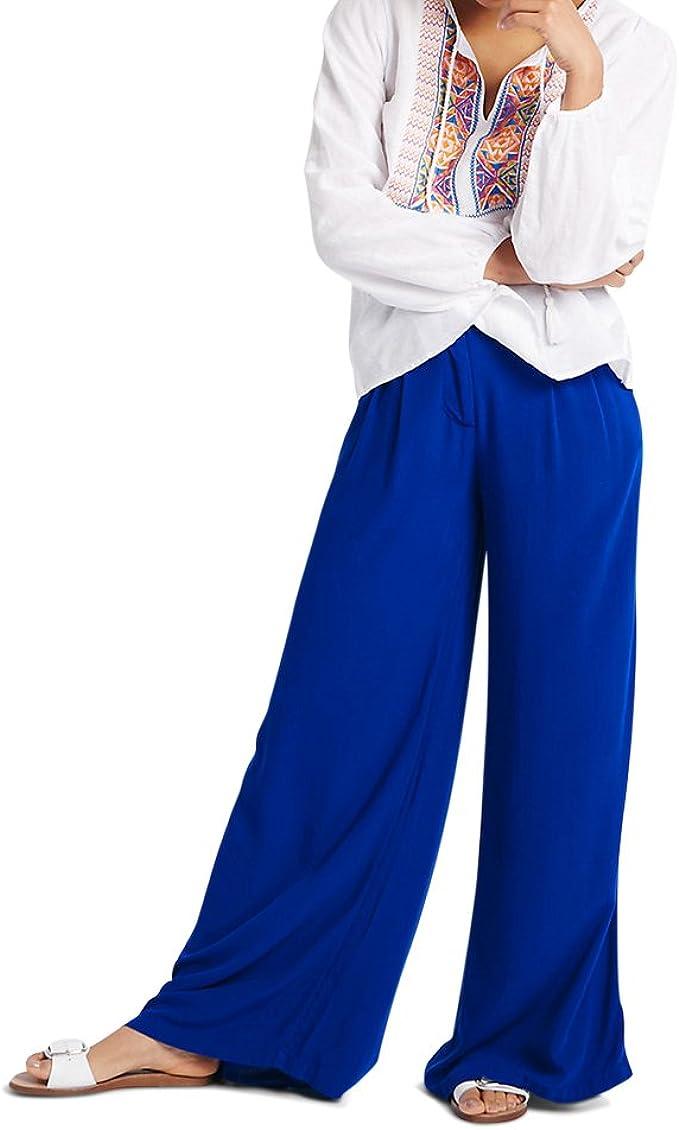 Women/'s ex M/&S Pleated Palazzo Wide Leg Cobalt Blue Trousers