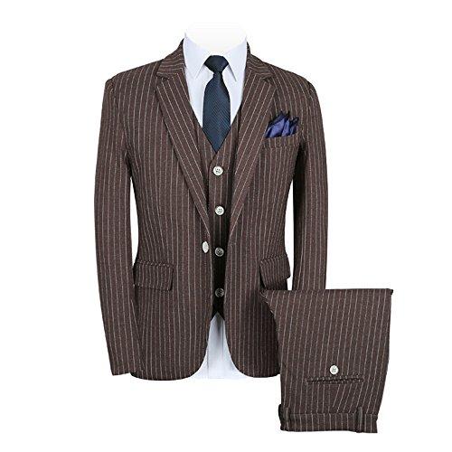 YIMANIE Men's Plaid Stripe Slim Fit One Button 3-Piece Suit Blazer Dress Suit Jacket Tux Vest & Trousers,Coffee,L