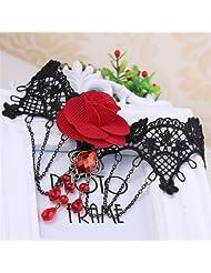 Qiyun Black Crochet Lace Choker Red Rose Flower Collar Chains Tassel Necklace Rose Noire Crochet Dentelle Rouge Fleurs Pompon Collier